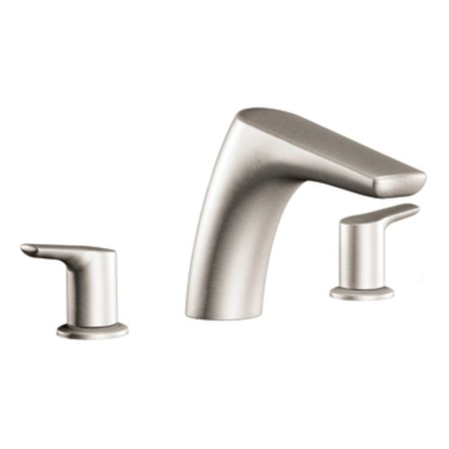 Moen T986BN Method Two-Handle Low Arc Roman Tub Faucet, Brushed Nickel - Arc Two Handle