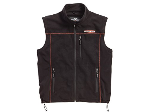 Harley-Davidson Men's Fleece Mid-Layer Vest Windproof, Black. 98567-16VM (XL)