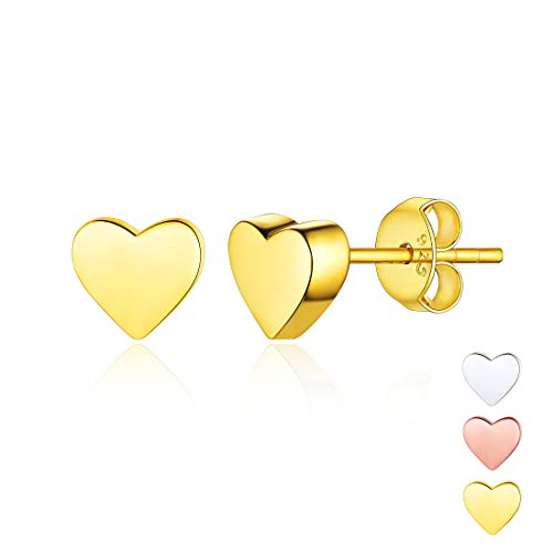 18K Gold Plated Sterling Silver Minimalist Heart Earrings Studs Mini Dainty Love Heart Stud Earrings for Women Girls (Love Stud Tiny Earrings)