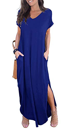 GRECERELLE Solid V-Neck Pocket Loose Maxi Dress Royal Blue S