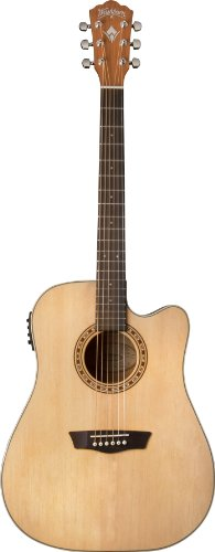 - Washburn WD7SCE Harvest Series Solid Sitka Spruce/Mahogany Dreadnought Cutaway Acoustic-Electric Guitar - Natural Gloss