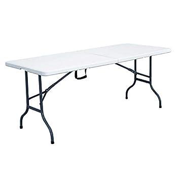 Rekkem Table Pliante Blanche 162 x 71 x 71 cm, Blanc