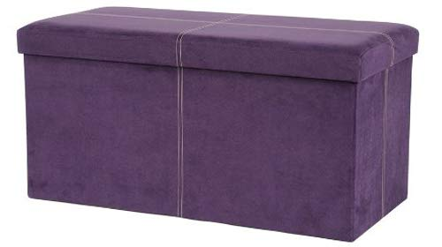 Thе FHе Grоup Home Decor Microsuede Folding Storage Ottoman Bench, 30 by 15 15 Inches, Purple