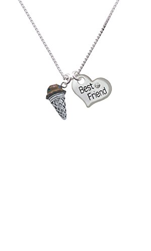 3-D Resin Chocolate Ice Cream Cone with Crystals - Best Friend Heart Necklace