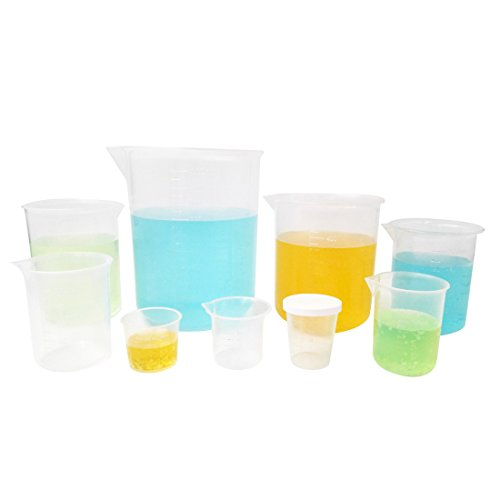 Kalevel 9pcs Plastic Beakers Measuring Cups with Spout Plastic Graduation Cups Graduated Cups Plastic Beaker Measuring Beaker for Liquid Measuring Tools Polypropylene Measuring Cup (200ml-1000ml) by Kalevel