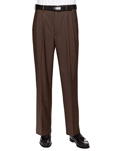 GIOVANNI UOMO Mens Pleated Front Expandable Waist Dress Pants Brown 36W x 32L