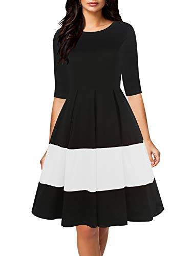 oxiuly Women's Vintage Half Sleeve O-Neck Contrast Casual Pockets Party Swing Midi Dress OX253 (L, Black White PT)