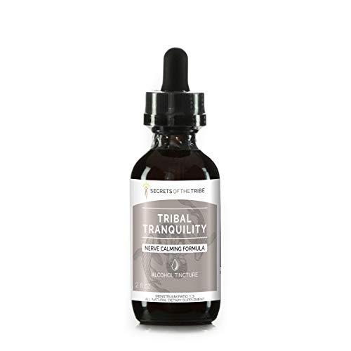 Tribal Tranquility Herbal Extract, Alcohol Tincture, Glycerite Skullcap, Lemon Balm, Holy Basil, Reishi Mushroom, California Poppy, Valerian. Nerve Calming Formula 2 OZ - Nerve Formula Alcohol
