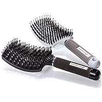 Juego de cepillos para el cabello con cerdas de jabalí: cepillo de pelo para desenredar, curvo y ventilado, para mujeres. Cepillo de ventilación para cabello largo, grueso, delgado, rizado y enredado.