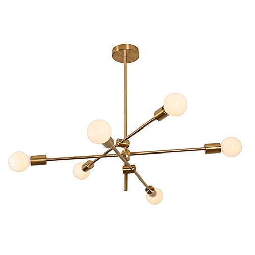 YOKA Lighting Modern Metal Chandelier Ceiling Pendant Lighting Fixture Hanging Lamp Flush Mount With 6 Lights Gold Finish