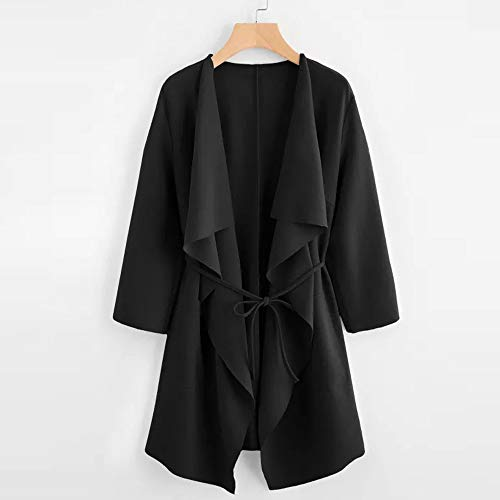 Front Clearance Black Womens Down Wrap Long Ladies DEELIN Outwear Sale Casual Coats Sleeve Collar Waterfall Winter Collar Top Jacket Turn Cardigan Pocket 5wx8g