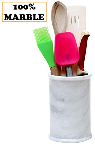 (Utensil Holder Home Basics Spatula Handmade Marble Countertop Utensil holders - 4.5x4.5x6.5 Inch Large Utensils Cutlery Caddy Organizer For Kitchen - Non rustic - Tall Decor Accessories (WZ-01))