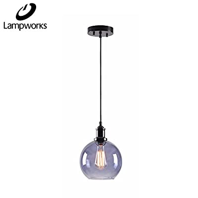 """Lampworks Pendant Light Dia 7-7/8"""" Industrial Clear Bubble Glass Globe Lampshade Ceiling Light Fixture Spherical Vintage Chandelier Lighting for Kitchen Living Room(Bulb Not Included)"""
