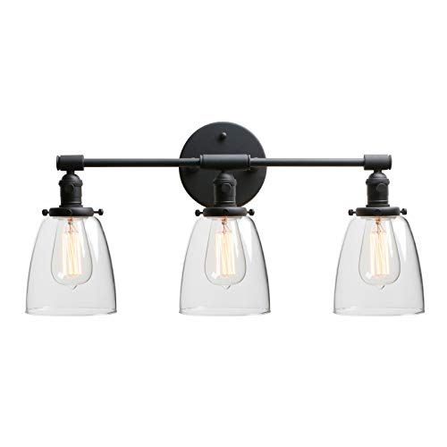(Phansthy 3 Light Industrial Wall Sconce Black Sconces with 5.6 Inches Dome Shape Clear Glass Shade, Black)