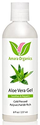 Amara Organics Aloe Vera Gel from Organic Cold Pressed Aloe, 8 fl. oz.