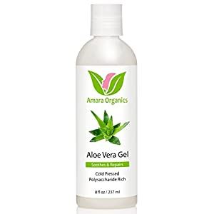 Amara Organics Aloe Vera Gel from Organic Cold Pressed Aloe, 8 fl. oz.
