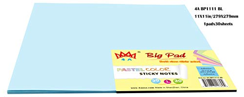 4A Sticky Big Pad,11 x 11 Inches,Pastel Blue,Self-Stick Notes,30 Sheets/Pad,1 Pad/Pack,4A BP1111 BL.
