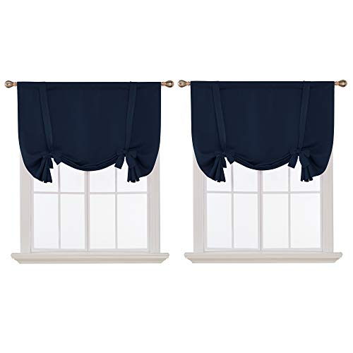 Deconovo Rod Pocket Navy Blackout Curtains Tie Up Shade Curtain Panels for Living Room and Bedroom Navy Blue 42W x 54L 2 Panels