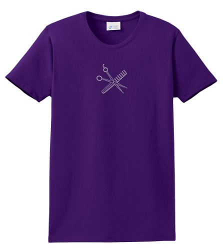 Hairstylist T-Shirt Rhinestones Comb & - Scissors Purp