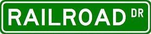 RAILROAD Street Sign ~ Custom Street Sign - Sticker Decal Wall Window Door Art Vinyl - 8.25