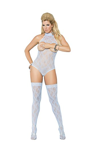 Sexy Cupless Halter Style Lace Teddy With Matching Stockings included (Plus Size) Halter Style Teddy