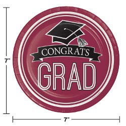 Class of 2019 Graduation School Spirit Burgundy & Black Party Tableware & Decorations for 36 Guests by Party Creations (Image #4)