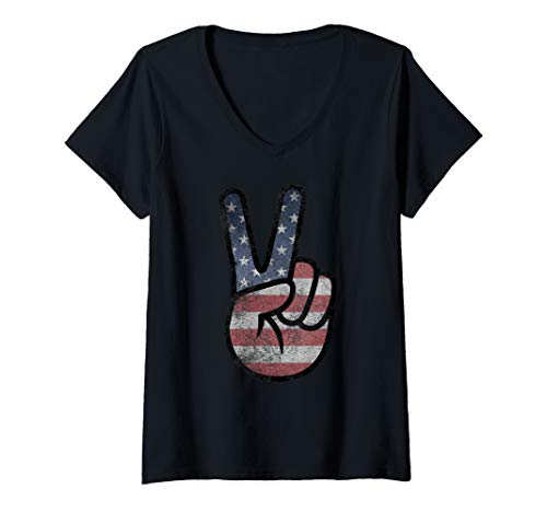 Womens American Flag Peace Sign Hand Shirt USA US Gifts 4th of July V-Neck T-Shirt