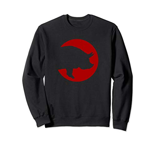 (Pig Red Round Cutout - Animal Pig Sweatshirt)