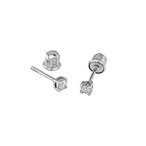 14k White Gold 3mm Round Solitaire Basket Set Stud Earrings with Screw ()