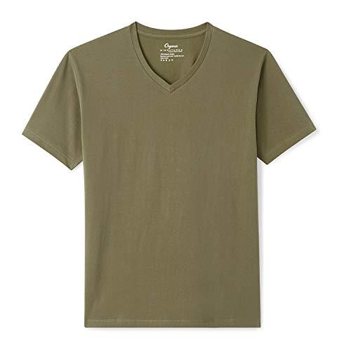 - Organic Signatures Men's Short-Sleeve V-Neck Cotton T-Shirt (X-Large, Olive)