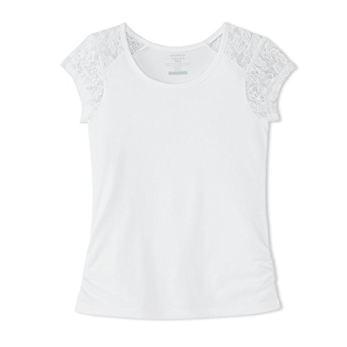 Price comparison product image French Toast Big Girls' Short Sleeve Lace Shoulder Tee, White, M (7/8)