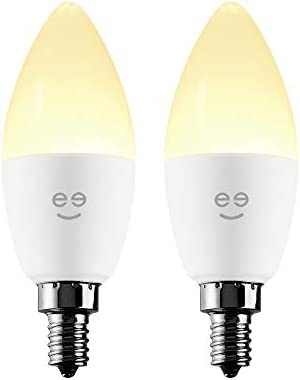 Geeni LUX CANDLE Candelabra Bulb E12 Base Smart Light Bulbs, Dimmable Tunable E12 Light Bulb 40W Equivalent, Candle Bulb Chandelier Light No Hub Required Works With Alexa, The Google Assistant, 2 Pack