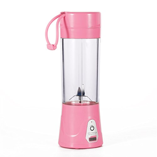 Portable Juice Blender and Mixer, OUTAD Portable Juicer Juice Extractor Portable Rechargeable Battery USB Charging 380ml Juicer Cup 2000mAh Power with Travel Lid (Pink)