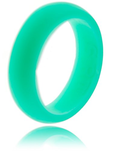 Womens Silicone Wedding Ring - Sturdy, Safe & Stylish- Easy Exchanges- Lifetime Replacement - Breast Cancer Awareness D-shaped Band Wedding Ring