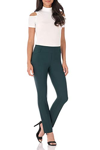 Rekucci Women's Ease in to Comfort Fit Stretch Slim Pant (14,Hunter Green)