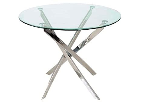 Tavoli Da Pranzo Rotondi In Vetro.Jadella Tavolo Da Pranzo Di Design Con Piano In Vetro Rotondo