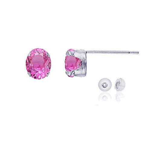 Oval Pink Sapphire Earrings (14K White Gold 7x5mm Oval Created Pink Sapphire Stud Earring with Silicone Back)