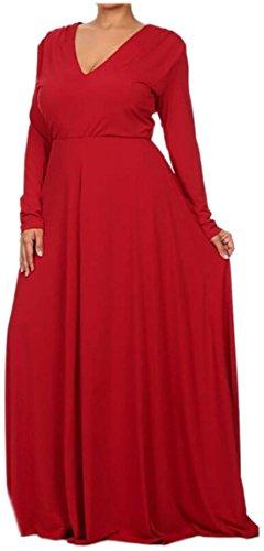 Jaycargogo Des Femmes De Swing De Couleur Unie Taille Plus Longue Rouge Robe Maxi Manches Longues