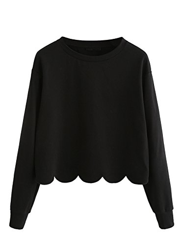 Romwe Women's Casual Long Sleeve Scalloped Hem Crop Tops Sweatshirt Black S
