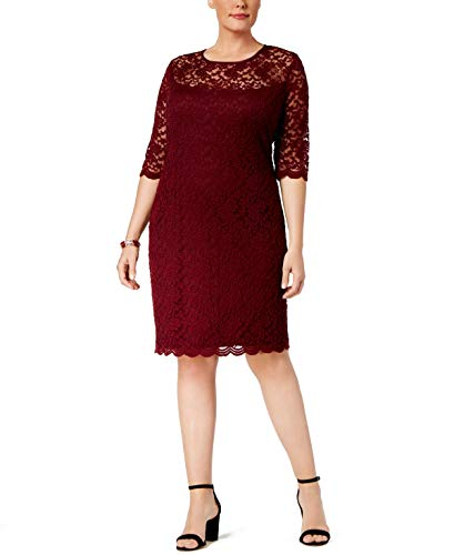Connected Women's Plus Size Illusion Lace Dress (22W, Bordeaux) Connected Apparel 3/4 Sleeve