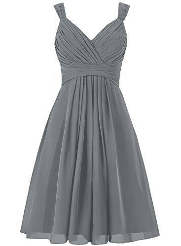 Bridesmaid Dress Short Prom Dress Chiffon Simple Party Dress for Junior Grey S (Charcoal Grey Prom Dresses)