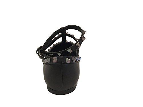 Kaitlyn Pan - Spitzverzierte Strappy Caged Ballerina Leather Flats Schwarz Matt / Schwarz Trim / Gun Black Studs