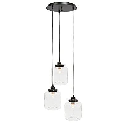 Best Choice Products Home Modern Industrial Jar Pendant Chandelier Ceiling Light Fixture w/ Bulbs for Foyer, Kitchen Island, and Living Room