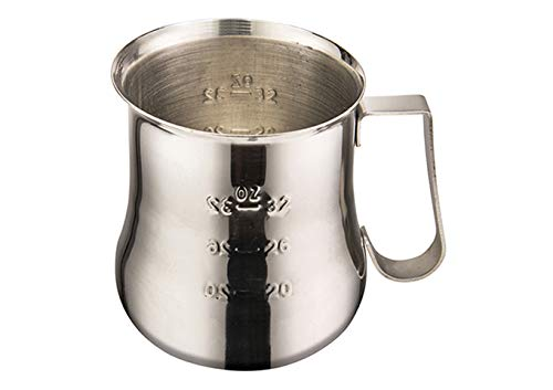 Winco WPE-40, 40 Oz. Stainless Steel Espresso Milk Frothing Pitcher, Metal Milk Server, Frother