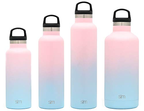 Simple Modern 32oz Ascent Water Bottle - Stainless Steel Hydro Swell Flask w/Handle Lid - Metal Double Wall Vacuum Insulated Reusable Tumbler Aluminum 1 Liter Cold Leak Proof - Sweet Taffy