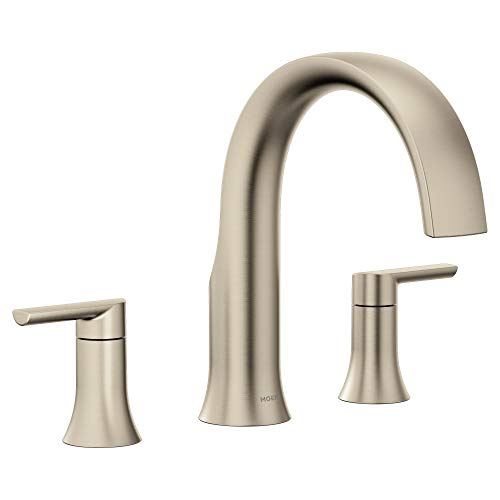Moen TS983BN Doux Collection Two-Handle Widespread High Arc Roman Tub Faucet without Valve, Brushed Nickel