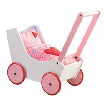 s - Wooden Doll Buggy with Bedding (Made in Germany) ()
