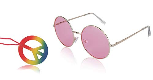 Sunny Pro Round Sunglasses Retro Circle Tinted Lens Glasses UV400 Protection (Pink Sunglasses + Hippie paece sign necklace) -