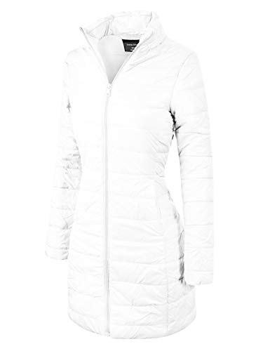 Nylon Winter Coat - Instar Mode Women's Casual Warm Quilted Long Puffer Down Jacket Coat White S