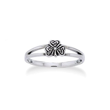 (Irish Shamrock Celtic Knot 3-Leaf Clover Sterling Silver Narrow 5mm Pinky Ring Size 9(Sizes 3,4,5,6,7,8,9,10))